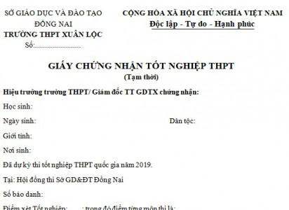 Thông báo về việc nhận giấy chứng nhận tốt nghiệp THPT (tạm thời)